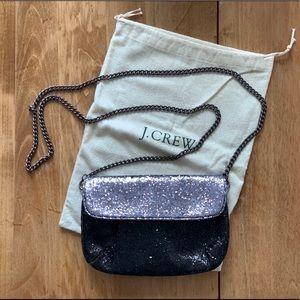 JCrew Black/Silver Glitter Clutch w/ chain